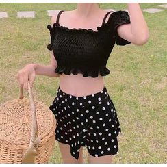 CUCURBIT - Set: Cold-Shoulder Tankini Top +  Dotted Swim Skirt