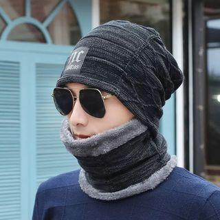 Eva Fashion - 套装: 毛毛边无边帽 + 围脖