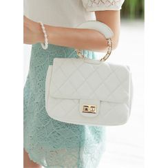 Styleonme - Hoop-Handle Chain-Strap Quilted Bag