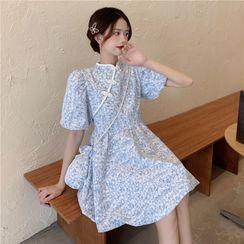 Sisyphi - 套装: 短袖碎花娃娃连衣裙 + 斜挎包