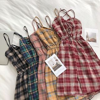 DIYI - Plaid Strappy Midi A-line Dress