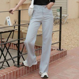 Heynew - High Waist Plain Wide Leg Jeans