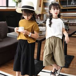 Pegasus - Kids Set: Plain Short-Sleeve T-Shirt + Cropped Wide-Leg Pants
