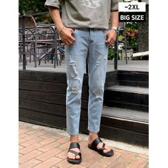 GERIO - Distressed Straight-Cut Jeans