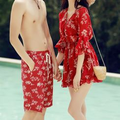 AITE - Couple Matching Floral Bikini Top / Swim Shorts / Cover-Up / Beach Shorts / Set