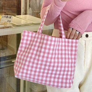 Rubis - 格子帆布手提包