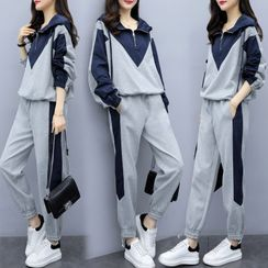 Ayibu - 套裝: 插色半拉鏈衛衣 + 運動褲