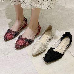 QQ Trend - 透明拼接尖头平跟鞋