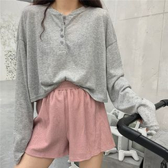 JStyle - Long-Sleeve Button-Up T-Shirt