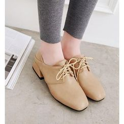 Shoes Galore - Faux Leather Low Heel Oxfords