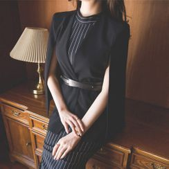 Yolandus - Sleeveless Striped Midi Dress / Cape Jacket / Belt / Set