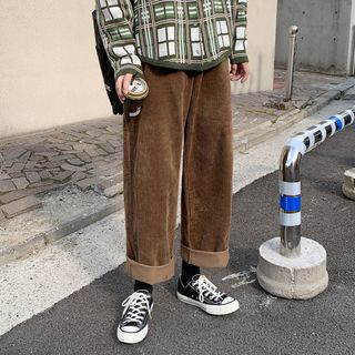 YERGO - Corduroy Cropped Straight-Fit Pants