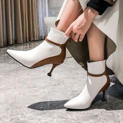 Martha - Paneled Kitten-Heel Ankle Boots