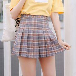 Rosehedge - Pleated Plaid Mini Skirt