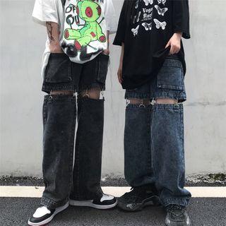 Porstina - 前口袋可移除直筒牛仔裤