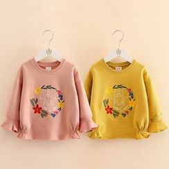 Seashells Kids - Kids Flower Embroidered Pullover