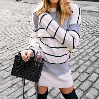 MINODI - Striped Knit Mini Bodycon Dress