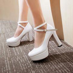 Shoes Galore - Chunky-Heel Platform Pumps