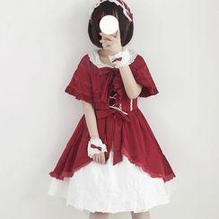 YUE STUDIO - Cape-Sleeve A-Line Dress / Lace Cuffs / Headband / Set