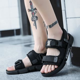 Signore - Lettering Ankle-Strap Flat Sandals