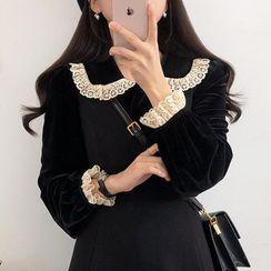 Renara - Lace Trim Velvet Blouse