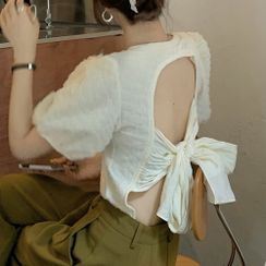 SUGARUS - 短袖露背襯衫