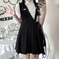 Kenning - Short-Sleeve Shirt / Mini A-Line Suspender Skirt