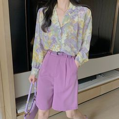 KERFI - Floral Print Shirt / Elbow-Sleeve Shirt / High-Waist Shorts