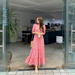 DEEPNY - Floral Tiered Maxi Wrap Dress