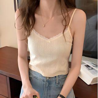 monroll - Lace Trim Camisole Top