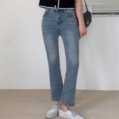 MERONGSHOP - Slit-Side Washed Boot-Cut Jeans