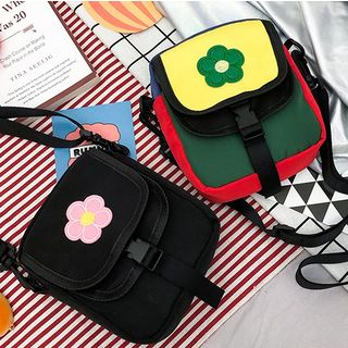 OUCHA - Flower Appliqued Crossbody Bag