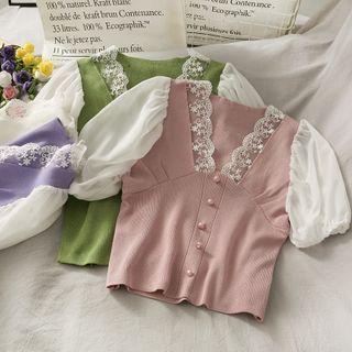 Lemongrass - Lace-Trim Puff-Sleeve Color-Block Crop Top in 6 Colors