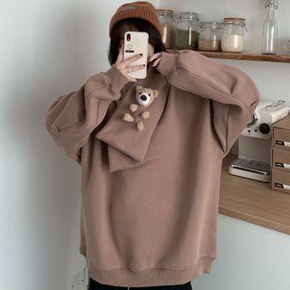 Dreamkura - Set: Plain Sweatshirt + Bear Applique Scarf
