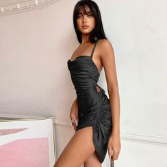 UUZONE(ユーユーゾーン) - Tie-Back Strappy Shirred Satin Bustier Dress