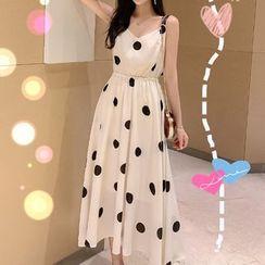 Deedlit - Dotted Sleeveless Maxi A-Line Dress