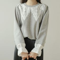 JUSTONE - Contrast-Cuff Printed Fleece-Lined Pullover
