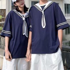 Ink Brush - Couple Matching Elbow-Sleeve Sailor Collar T-Shirt / Plain Shorts