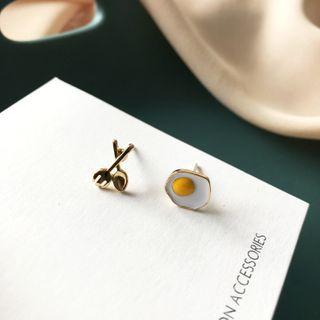 Teeny Trendy - 煎蛋及剪刀不對稱合金耳環