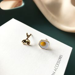 Teeny Trendy - Fried Egg & Scissors Asymmetrical Alloy Earring