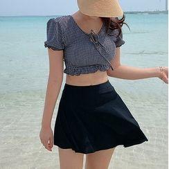 Salanghae - Set: Short Sleeve Check Tankini Top + Swim Skirt
