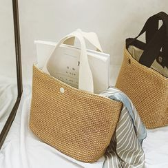 Elencee - Contrast Handle Woven Handbag