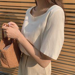 CHERRYKOKO - Square-Neck Button-Back Blouse