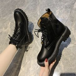 Belbie - Lace-Up Short Platform Boots - 2 Types