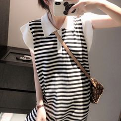 Shimi(シミ) - Sleeveless Striped Mini Knit Dress