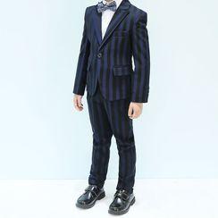 Snow Castle - Kids Set: Striped Blazer + Waistcoat + Pants + Shirt + Bow Tie
