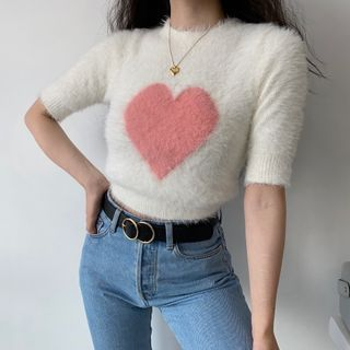 Sinora - Semi High-Neck Chenille Heart Short-Sleeve Top