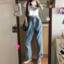 Smiler - Short-Sleeve Cartoon Print Cropped T-Shirt / Washed Straight-Cut Jeans
