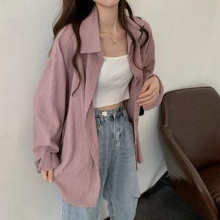 Pinatra - Plain Oversized Loose-Fit Shirt