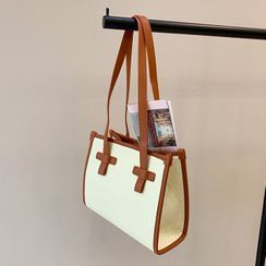 DABAGIRL - Pleather-Trim Weaving Tote
